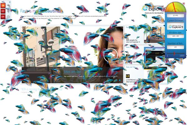internet explorer 9 fish tank